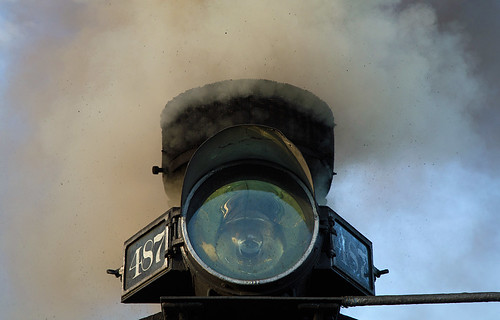 282 baldwin1925 cts487 chama chamashop chamayard cumbrestoltecscenicrailroad drgw487 denverriograndewestern k36 newmexico rioarribacounty cinders detail headlight smoke unitedstates us steamlocomotive railroad steamengine steamtrain scenicrailroad touristtrain heritagerailroad