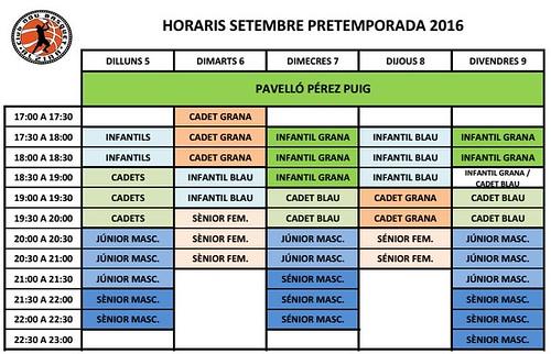 HORARIS PRETEMPORADA P PUIG 2016