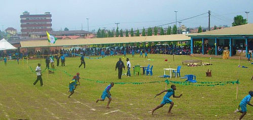 The relay race at the St Louis Nursery and Primary School, Akure, 16th biennial Interhouse Sports Competition