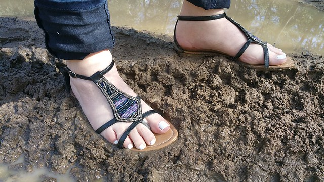 Some fun in the mud in my sandals