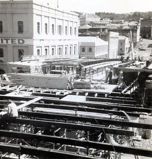 Work in progress on Jetty Street Ramp, 1977