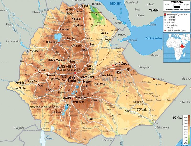 Mapa de relevo da Etiopia