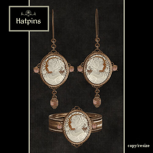 Hatpins - Vintage Shell Cameo Ring and Earrings