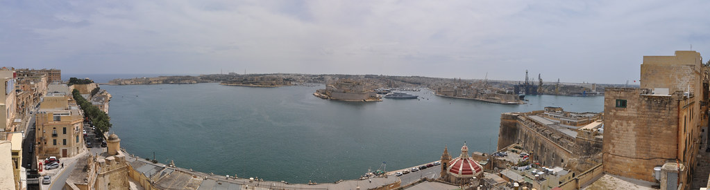 Grand Harbour panorama from hotel roof terrace