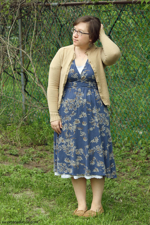 blue floral dress, brown cardi, moccs