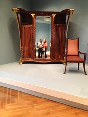 Me and Amy reflected in a Louis Majorelle cabinet mirror