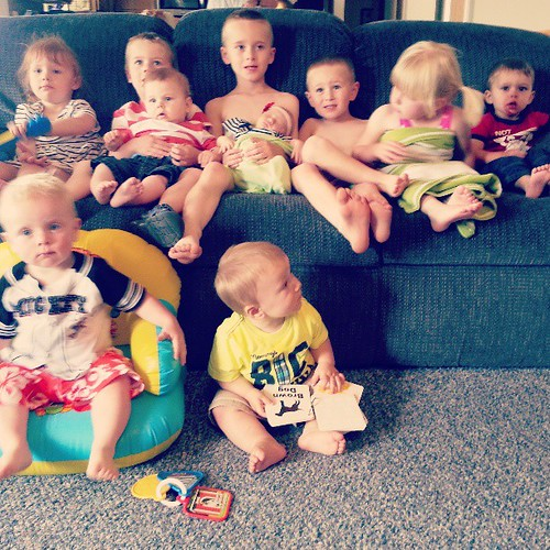 My grandmas great grandchildren.  Oldest, 6 to youngest, 2 weeks old.