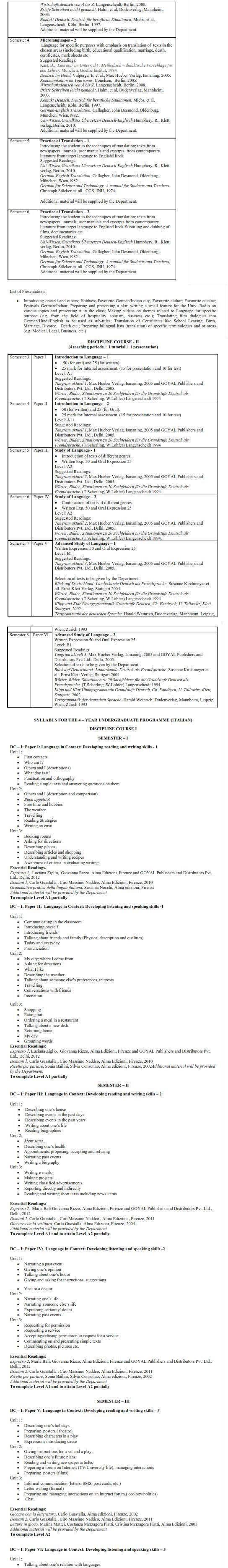 DU DC I, DC II and Applied Course Syllabus - Germanic & Romance Studies