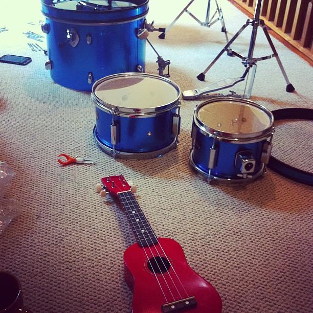 Photo:Musical family, adding a Ludwig drum set & Diamond Head ukulele to a keyboard, Ovation guitar, harmonicas, maracas, tambourine, and more. <3 By amberdegrace