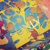 Gold leaf stamping on top of #marbledpaper. #color #worklife @unlvlibraries @unlvspeccoll