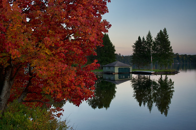 Red Maple and Green Boathouse