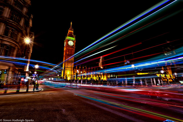 Neon Westminster London City - Blended Big Ben by Simon & His Camera