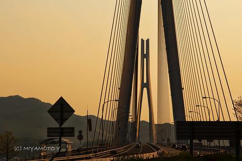 bridge sunset japan spring hiroshima ehime 2013
