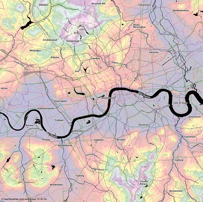 London's contours and lost rivers