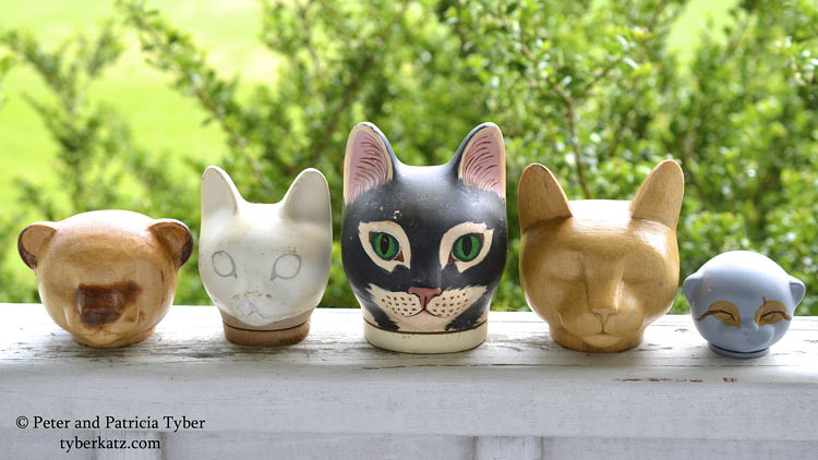Cat art doll heads by Peter and Patricia Tyber of Tyber Katz