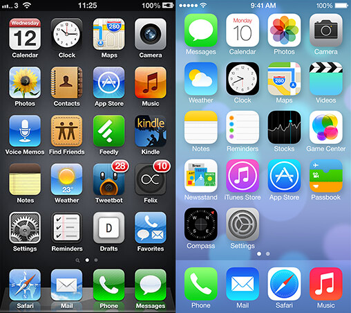 Home Screen on iOS 6 and iOS 7