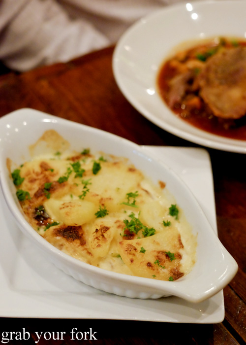 Potato gratin at Bistro Papillon, Sydney
