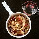 Apple Peels in Pot with Pyrex Cup
