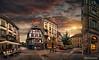 Puesta de sol en Colmar, Alsacia, Francia