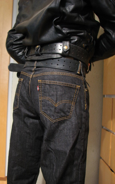 Bullhide angry belt 2x80 and 2,25x48 Levis 00560 0012 33x34 Black Rince Leather Maniacs MC-Jakke L B1S 2105 2016-10-02