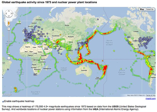 Global Earthquake since 1973 and Nuclear Power Plant locations