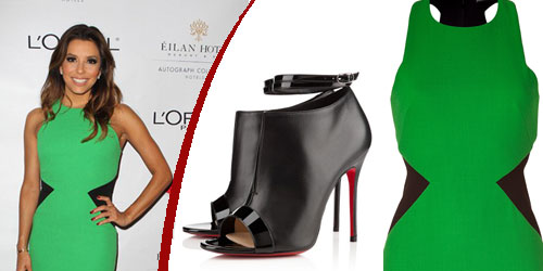 Eva longoria in David Koma's  Green Black Contrast Leather Side Panel Dress