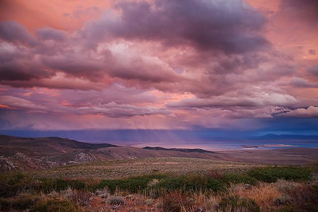 Sunset Rain Clouds Over Mono Lake
