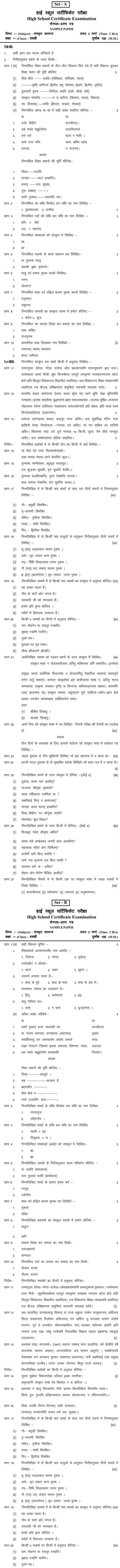 Chattisgarh Board Class 10 Sanskrit Sample Paper