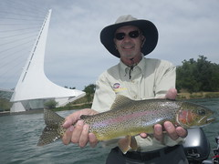 Larry pleased with one of many trophy trout on a another magical day on the Lower Sac