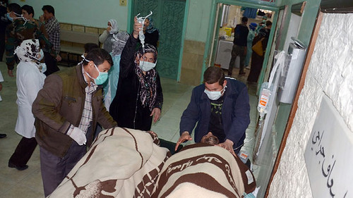 Patients being treated for chemical weapons exposure initiated by the western-backed rebels fighting against the government of President Bashar al-Assad of Syria. Israel has recently carried out renewed airstrike outside of Damascus. by Pan-African News Wire File Photos