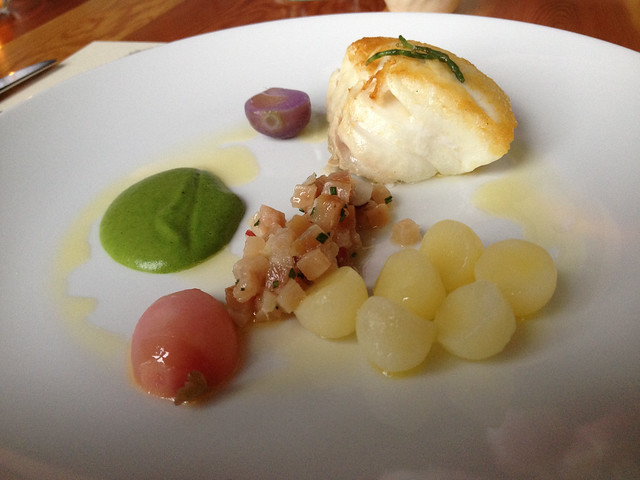Hecate Straight halibut, wild sea asaparagus & stining nettle, ALM radish, SSI smoked tuna, our nodding onion