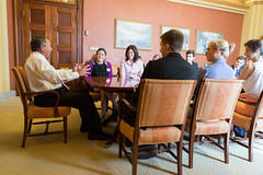 Speaker John Boehner shares a laugh with students from Miami University's Inside Washington program in his office in the U.S. Capitol.  May 22, 2013. (Official Photo by Heather Reed)  --- This official Speaker of the House photograph is being made available only for publication by news organizations and/or for personal use printing by the subject(s) of the photograph. The photograph may not be manipulated in any way and may not be used in commercial or political materials, advertisements, emails, products, promotions that in any way suggests approval or endorsement of the Speaker of the House or any Member of Congress.
