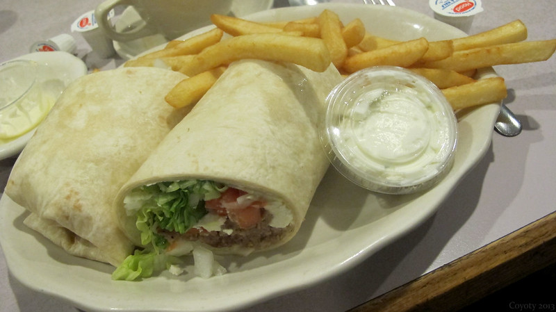 Gyro wrap with fries