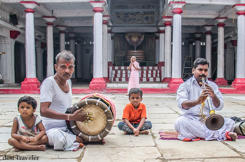 Carnatic musicians playing drum in Sitaram Bagh temple courtyard