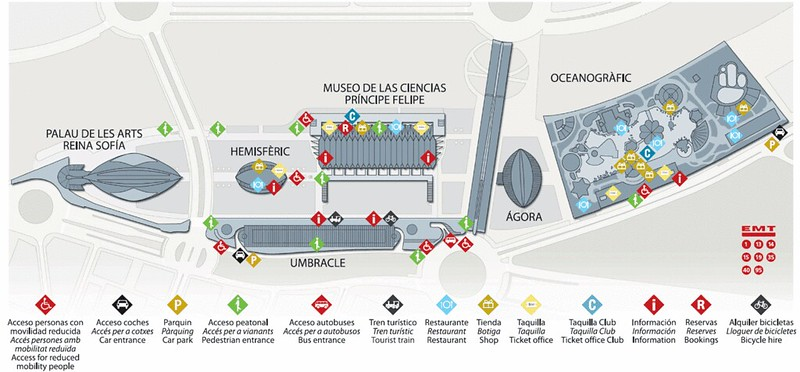 Mapa Cidade das Artes e das Ciências Valencia