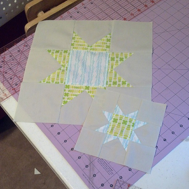 Blocks done and ready for sashing. #shiningstarsBOM #colormeretro #quilting