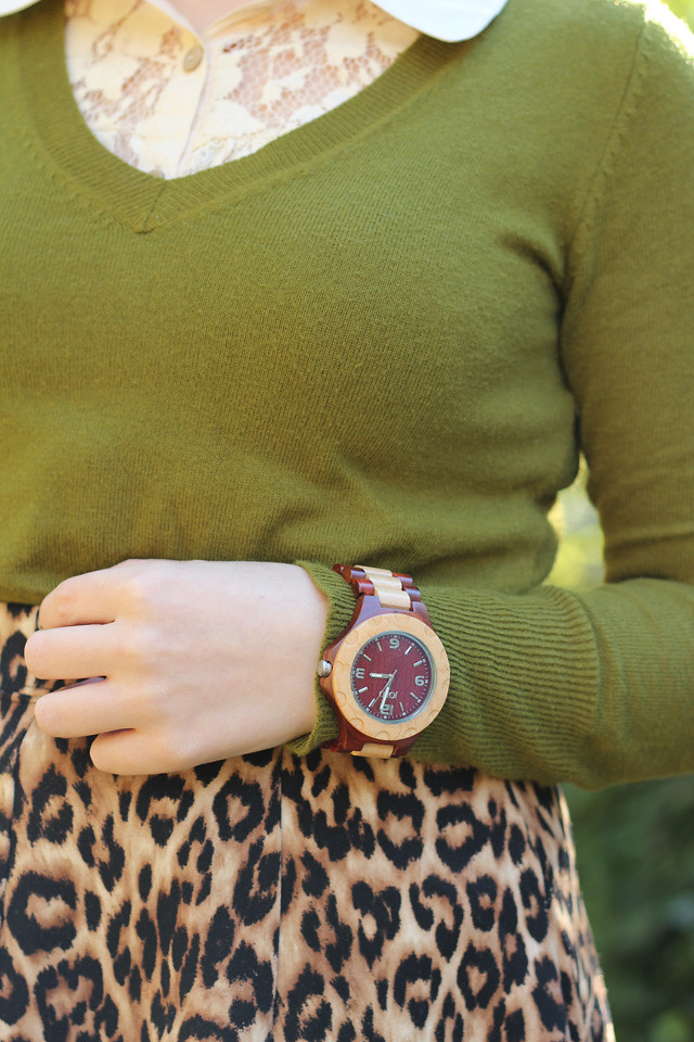 JORD Sully Wood Watch with an Olive Green Sweater and Leopard Skirt