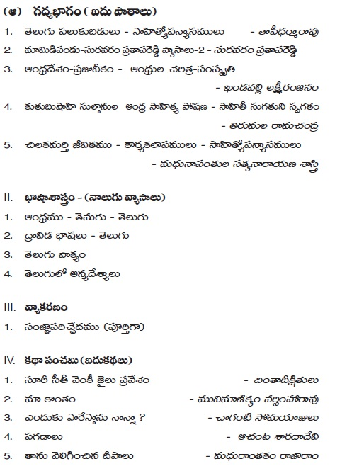 AP Board Intermediate II Year Telugu (Part-III) Syllabus
