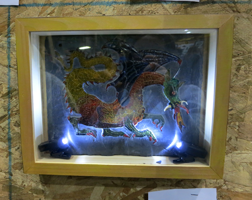 AAN2013 Dragonus by Bill Walter relief carved roof slate & enamel paint