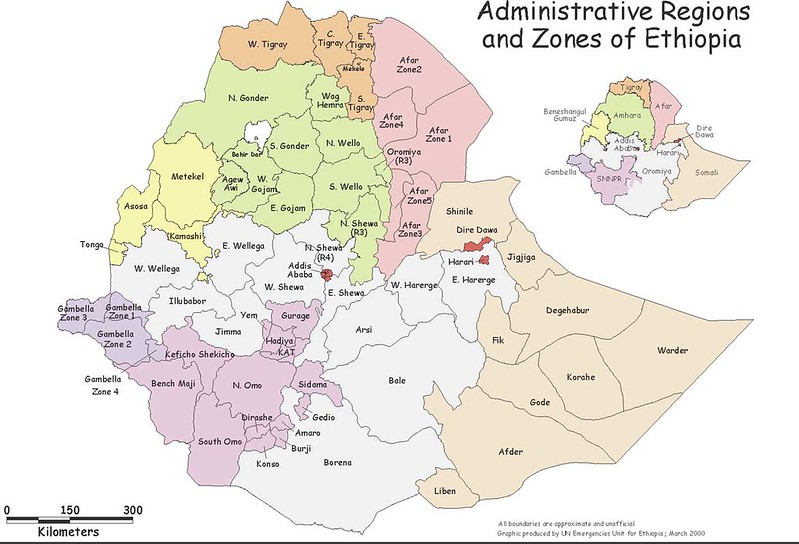 Mapa das zonas administrativas da Etiopia