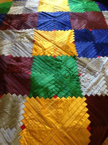 Grandma O's Satin Patchwork blanket