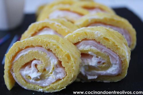Rollitos de tortilla, jamon y queso www.cocinandoentreolivos (15)