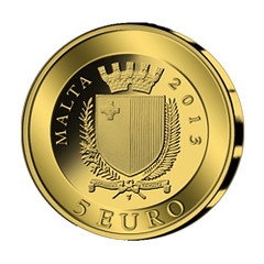 Malta gold Five Euro obverse