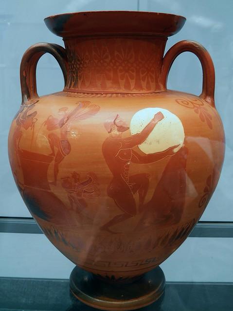 Attic Black figured necked amphora depicing Sisyphus in Hades, attibuted to the Bucci Painter, ca. 530 BC, Staatliche Antikensammlungen, Munich