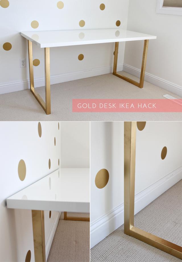 just bella gold desk ikea hack. Black Bedroom Furniture Sets. Home Design Ideas