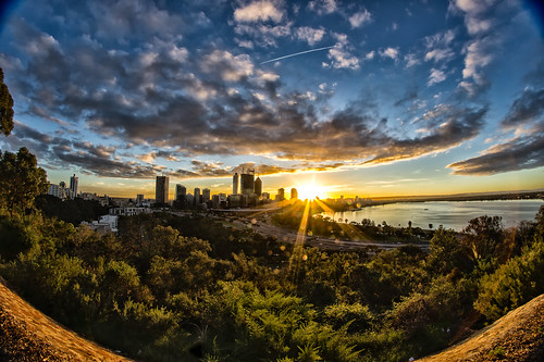 clouds sunrise australia fisheye perth westernaustralia urbanscape mirrorless rokinon niksoftware viveza dfine20 rokinon8mm nex5 colorefexpro4 nikcollectionbygoogle