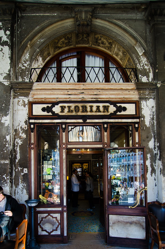 The entrance to Iconic Cafe Florian in Venice.