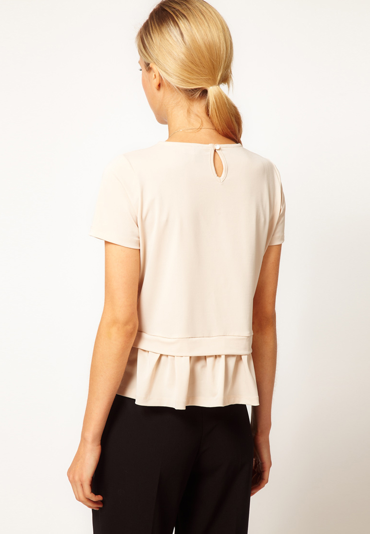 ASOS Top with Drop Waist Frill Peplum
