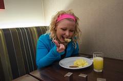Eating a Marriott breakfast
