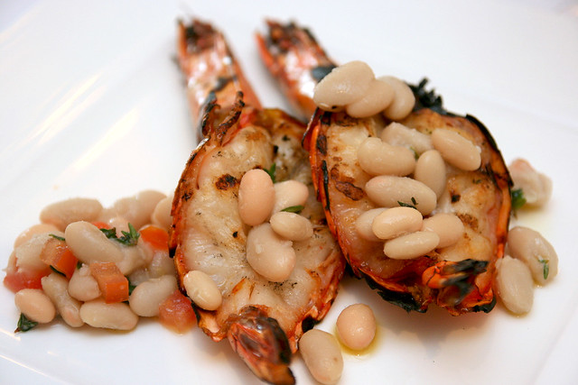 Gamberoni alla Griglia: Grilled garlic prawn & lemon chili flakes
